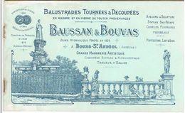 CATALOGUE VERS 1890 BAUSSAN ET BOUVAS USINE A BOURG SAINT ANDEOL ARDECHE MARBRERIE CHEMINEE FONTAINE TOMBEAUX STATUE - France
