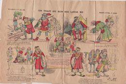 """Planche PELLERIN . Imagerie D'Epinal 19x30 (signée H. De STH.)  5 Images """"Un Trait Du Bon Roi Louis XII (pliure En 4) - Old Paper"""