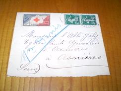 LSC De Paris 90 à Asnières Avec Vignette Croix Rouge Société Française De Secours Aux Blessés Militaires - Documents