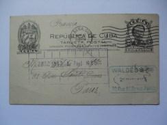 CUBA - 1913 Stationary Card - Havana To Paris France - Waldes & Co. Cachet - Briefe U. Dokumente
