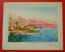 Monaco Monte-Carlo Carte Très Finement Dessinée Colorisée Illustrateur A Signé Dos Scanné 15x12 Cms - Monte-Carlo