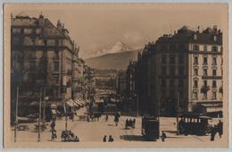 Geneve - Rue Du Mont Blanc, Hotel Suisse, Schweizerhof, Tram, Animee - Phototypie - GE Genève
