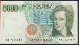 °°° ITALIA - 5000 LIRE BELLINI 12/01/1988 SERIE KB °°° - [ 2] 1946-… : Républic