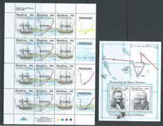 Tonga Niuafo'ou 1991 Bligh & Edwards Charting Half Sheet Of 4 Strips + Labels & Miniature Sheet Specimen Overprint MNH - Tonga (1970-...)