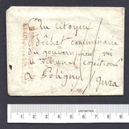 Enveloppe Seule Avec Cachet Bau De Poste Près Le Corps Législatif POLIGNY  JURA - 1701-1800: Précurseurs XVIII