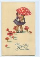 T2676/ Pilze  Neujahr AK   Mädchen 1927  - Anno Nuovo