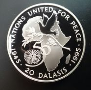 """GAMBIA 20 DALASIS 1995 SILVER PROOF """"50th Anniversary - United Nations"""" (free Shipping Via Registered Air Mail) - Gambia"""