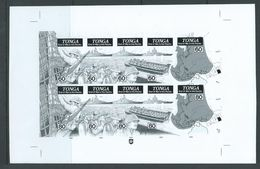 Tonga 1995 WWII Pacific Victory Anniversary Bromide Proof Of Both Strips Of 5 In Unseparated Sheet - Tonga (1970-...)