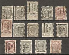 Belgique - 1995/1911 - Préoblitérés Anvers/Antwerpen - Armoiries - COB 53/55/81/82 - Petit Lot De 14 - Préoblitérés