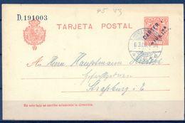 1906 , ORENSE ,  ENTERO POSTAL ED. 45 ,  CIRCULADO ENTRE RIVEIRA Y ESTRASBURGO , MAT. CARTERIA DE RIVEIRA - 1850-1931