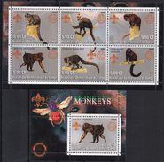 Singes Divers - 6 Timbres + BF Neufs 2002 // Mnh - République Démocratique Du Congo (1997 -...)