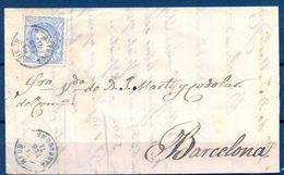 1871 , TARRAGONA , CARTA CIRCULADA ENTRE REUS Y BARCELONA , MAT. FECHADOR DE REUS, LLEGADA - Cartas