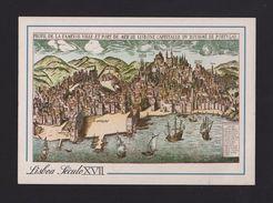 LISBON ART POSTCARD Map Maps LISBOA LISBONNE PORTUGAL HISTORY TEJO Boats  Z1 - Postcards