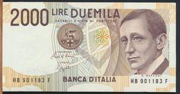 °°° ITALIA - 2000 LIRE G. MARCONI 06/03/1992 SERIE HB FDS/UNC °°° - [ 2] 1946-… : Républic