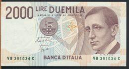 °°° ITALIA - 2000 LIRE G. MARCONI 06/03/1992 SERIE VB FDS/UNC NUMERI VERDI °°° - [ 2] 1946-… : Républic