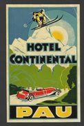 Etiquette Valise Hotel Continental Pau Ski Voiture Ancienne France Luggage Label Sky Old Car - Etiquettes D'hotels