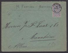 België Nr. 70 Op Brief Van Antwerpen Naar Mannheim - 1894-1896 Expositions
