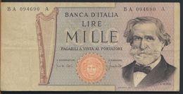 °°° ITALIA - 1000 LIRE G. VERDI 25/03/1969 SERIE BA °°° - [ 2] 1946-… : République