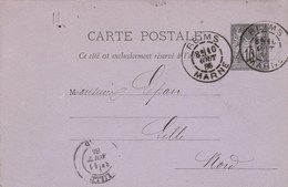 Entier Postal Yvert 89 CP2 Entête Letourneux REIMS Marne 10/8/1885 Pour Lille - Postal Stamped Stationery