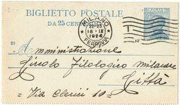 R773) V.E.III BIGLIETTO POSTALE 25 C. MICHETTI MILL. 23 VIAGGIATO - Interi Postali