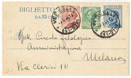 R772) V.E.III BIGLIETTO POSTALE 25 C. MICHETTI MILL. 23 VIAGGIATO - Interi Postali