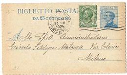 R771) V.E.III BIGLIETTO POSTALE 25 C. MICHETTI MILL. 23 VIAGGIATO - Interi Postali