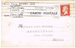 175 PASTEUR SUR CARTE COMMERCIALE STE SCIAMA POUR LA BELGIQUE PERF. D'ARCHIVE - Marcophilie (Lettres)