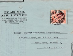 1962 TRINDAD AND TOBACCO TO PAKISTAN AEROGRAMME WITH PORT OF SPAIN CANCELLATION.COVER - Tansania (1964-...)