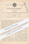 Original Patent - Arthur Cuthbert , London , 1899 , Fahrradsattel   Sattel , Fahrrad , Fahrräder , Sattler , Leder !!! - Historische Dokumente