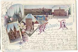 Laun / Louny, Pozdrav Z Loun GRUSS AUS Color Litho Sent 1903 - Tschechische Republik