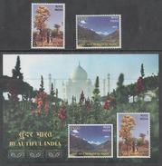 INDIA, 2017, MNH,  BEAUTIFUL INDIA, MOUNTAINS, TREES, TAJ MAHAL, 2v+S/SHEET - Geology