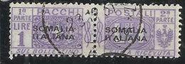 COLONIE ITALIANE SOMALIA 1917 - 1919 PACCHI POSTALI PARCEL POST LIRE 1 LIRA USATO USED OBLITERE' - Somalia