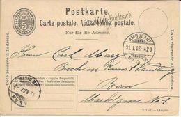 Lützelflüh-Goldbach Bern Cachet Linéaire + Ambulant 1907, Sur Entier Postal Carte, Ganzsache, Stabstempel Suisse Schweiz - Poststempel