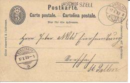 BISCHOFSZELL Thurgau Cachet Linéaire + Ambulant 1889, Entier Postal Carte, Ganzsache, Stabstempel Suisse Schweiz - Poststempel