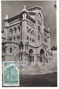 """1943 - CARTE MAXIMUM """" LA CATHEDRALE """" + CACHET SPECIAL (VIOLET) Sur TIMBRE YT 255 MONACO PRINCIPAUTÉ - Maximum Cards"""