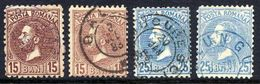ROMANIA 1880 Prince Carol 15 B. And 25 B. Each In Two Shades, Used.  Michel 55-56 - 1881-1918: Charles I