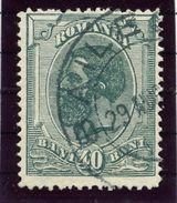 ROMANIA 1900 King Carol 40 B. With Part Of Sheet Margin Watermark, Used.  Michel 139 - 1881-1918: Charles I