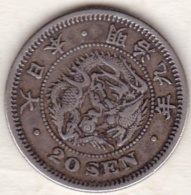 Japan . 20 Sen Year 9 (1876) Type II. MUTSUHITO. Argent. Y# 24 - Japan