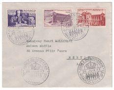 """1947 - ENVELOPPE MONACO Avec OBLITERATION SPECIALE """" JUBILÉ DU SOUVENIR """" EXPOSITION CENTENAIRE 22 23 24 POSTE AERIENNE - Cartas Máxima"""