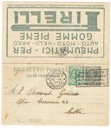 R782) V.E.III BIGLIETTO POSTALE 15 C. LEONI MILL. (19) VIAGGIATO, PUBBLICITA' PNEUMATICI PIRELLI - 1900-44 Vittorio Emanuele III