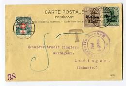 Schweiz Heimat AG Zofingen 23-08-1916 Porto 5Rp Auf Zensur Postkarte Aus Verviers Mit Germania 3, 5Rp Aufdruck Belgien - Portomarken