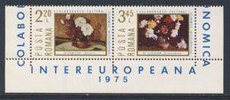 "Romania Romana Rumänien 1975 Mi 3258 /9 Pair ** ""Peonies"" By Nicolae Tonitza + ""Chrysanthemums"" By Stefan Luchian - Arte"