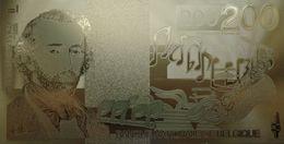 Billet Plaqué Or 24K Belgique 200 Francs Adolphe Sax 1995 NEUF - Billets