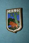 Superbe Ancien  Insigne CRS En Email Grand Feu - Police & Gendarmerie