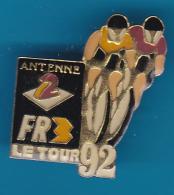 52601-Pin's.Cyclisme.Médias.Télévision.A2.FR3.. - Cycling
