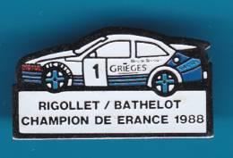52610-Pin's.Rallye Automobile Lyon-Charbonnières .Rigollet.Bathelot.Ford Sierra RS Cosworth.. - Ford