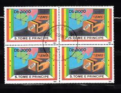 Sao Tome En Principe 1991 Mi Nr 1301,  EMS, Snelvracht, Blok Van 4 - Sao Tome En Principe