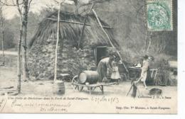 CPA ST FARGEAU Precurseur Une Hutte De Bucherons Dans La Foret De ST FARGEAU Belle Animation Ecrite 1903 - Saint Fargeau