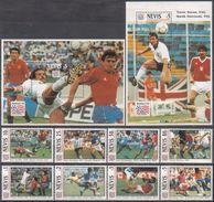 Soccer Football Nevis #769/76 + Bl 67/8 1994 World Cup USA MNH ** - 1994 – USA