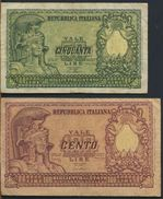 °°° ITALIA - 50 100 LIRE BUSTO D'ITALIA ELMATA  31/12/1951 °°° - [ 2] 1946-… : República